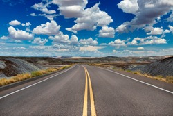 Scenic view of a road in the Petrified Desert National Park, in the State of Arizona, USA; Concept for travel in America and road trip
