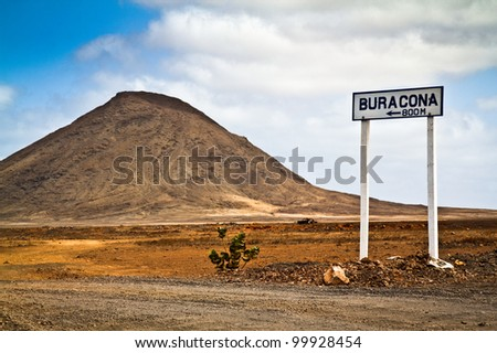 Scenic View of a street sign and a mountain in the Cape Verde islands.