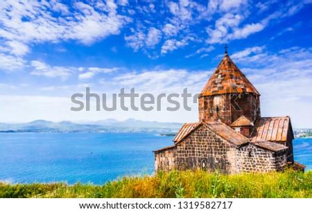 Scenic view of an old Sevanavank church in Sevan in Armenia #1319582717