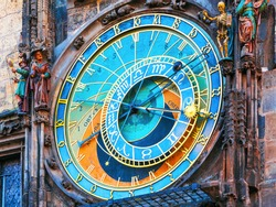 Scenic view of astronomical clock at the City Hall Tower at the Market Square in the Old Town in Prague, Czech Republic