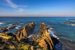 Scenic view of Barca Grande Beach the coastline near Almograve, at the Vicentine Coast, in Alentejo, Portugal.