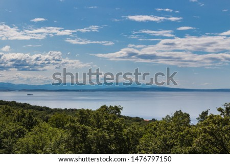 Scenic view of beautiful nature: green leaves, silver sea against blue cloudy sky and Cres island on background. Croatia #1476797150