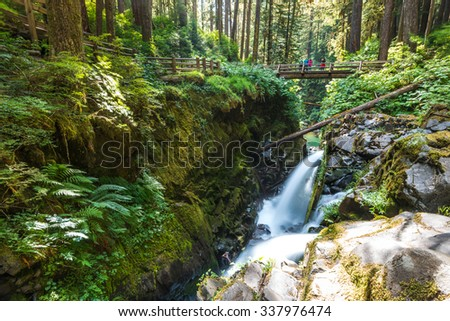 scenic view of beautiful Sol Duc water fall in Olympic national park on summer time,Washington State.USA.