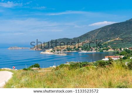 Scenic view of blue and green landscape. Kapıdag Peninsula Erdek, sea coast of Marmara Sea, Turkey.