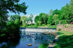 Scenic view of Charles River and waterfall in South Natick Dam Park Natick Massachusetts USA