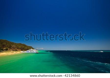 Scenic view of coast of Moreton Island, Australia