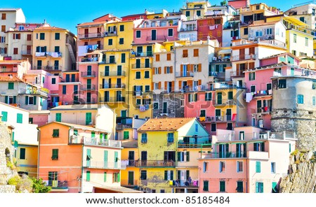 Scenic view of colorful houses in Cinque terre village Riomaggiore/Manarola