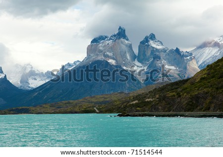 Scenic view of Cuernos del Paine mountains in Torres del Paine national park, Chile