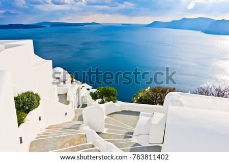 scenic view of cycladic house and aegean sea oia greece #783811402
