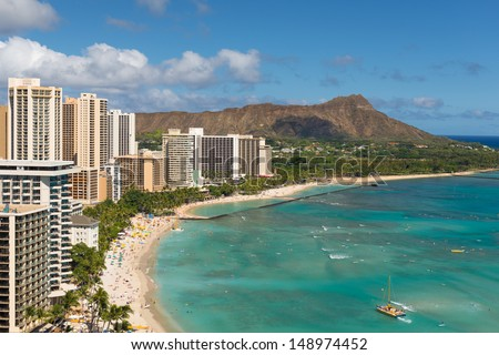 Scenic view of Diamond Head and Waikiki Beach in summer day