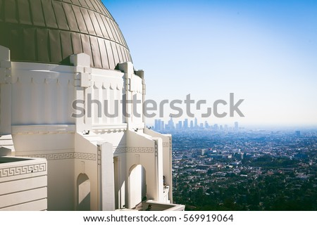Scenic view of downtown Los Angeles from Griffith Observatory #569919064