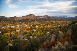 Scenic view of Durango, Colorado during the fall with the changing color of the leaves.