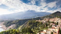 Scenic view of Etna Mount from Taormina, Sicily, Italy, Europe.