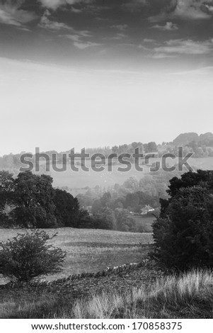 Scenic view of fields in the Cotswolds, England