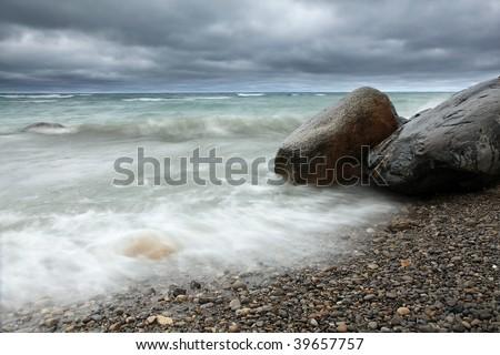 Scenic view of Georgian Bay using slow shutter speed. - stock photo