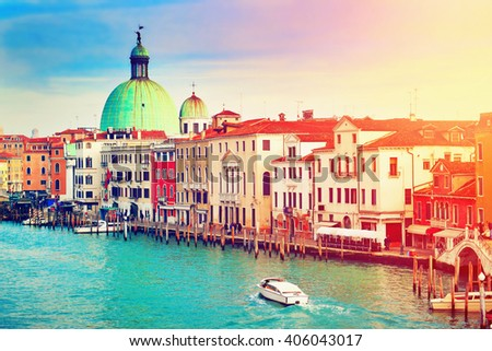 Scenic view of Grand Canal in Venice, Italy. Filtered image. #406043017