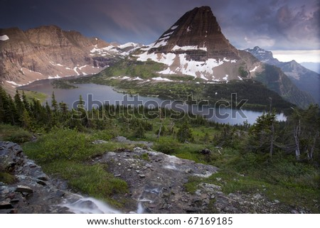 Scenic view of Hidden Lake & Bear Hat Mountain in Glacier National Park, Montana.