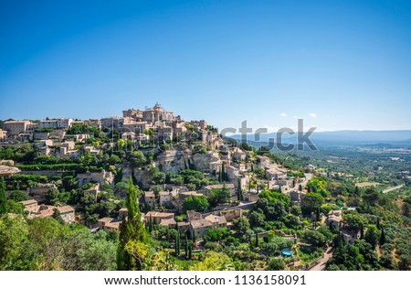Scenic view of hilltop village Gordes in South of France