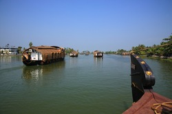 Scenic view of Houseboat sailing on Kerala backwaters in Alleppey, Kerala, India