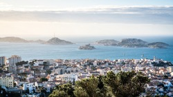 Scenic view of Iles du Frioul or Frioul islands archipelago and Chateau d'If castle with dramatic light in Marseille France