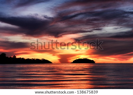 Scenic view of island during sunset at Chang island Thailand