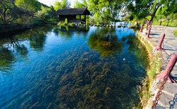 Scenic view of Jade Water Village, a naxi minority village near the Jade Dragon Snow Mountain, Lijiang, Yunnan China.