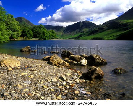 Scenic View Of Lake Buttermere The Lake District England