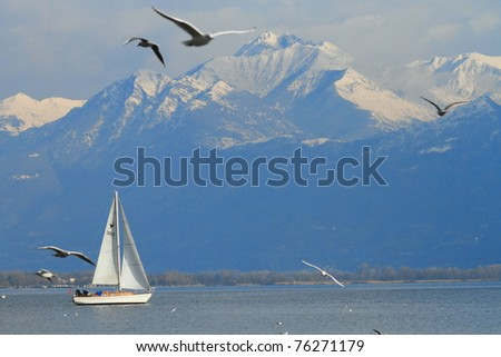 scenic view of Lake Maggiore and Swiss Alps at Locarno in Southern Switzerland