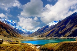 Scenic view of Lake Saiful Muluk, Naran Valley, near Kaghan Valley, Pakistan