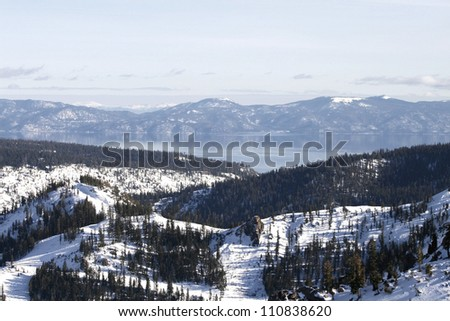 Scenic view of Lake Tahoe from Squaw Valley in California
