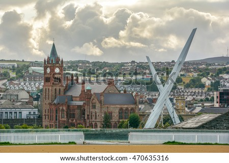 Scenic view of Londonderry, with Guildhall and Peace Bridge, Northern Ireland