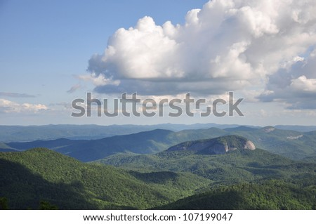 Scenic view of Looking Glass Rock, a mountain formation in the Appalachian mountains near Asheville, North Carolina