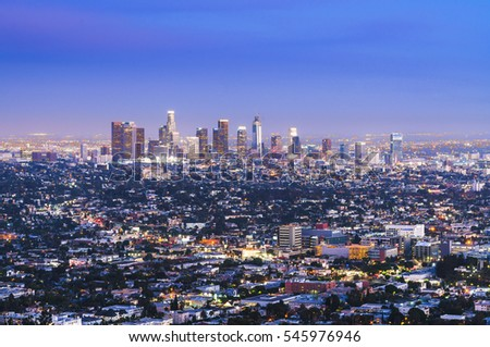 scenic view of Los Angeles skyscrapers at night,California,usa. #545976946