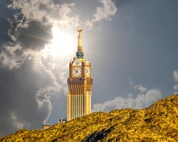 Scenic view of Makkah Tower, Abraj Al Bait (Royal Clock Tower Mecca)t op view and dry mountains of holy city of Makkah, Saudi Arabia