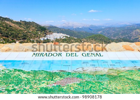 Scenic view of Mirador del Genal. Typical landscape of Andalusia near white village of Algatocin. Spain, Europe. - stock photo