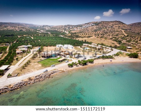 Scenic view of mountain and beach, Crete, Greece