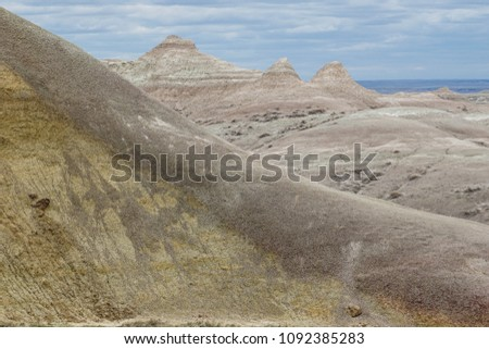 Scenic view of mountains at Badlands National Park in South Dakota #1092385283