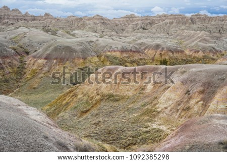 Scenic view of mountains at Badlands National Park in South Dakota #1092385298