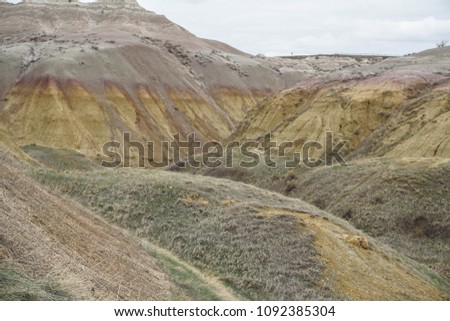 Scenic view of mountains at Badlands National Park in South Dakota #1092385304