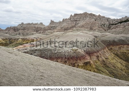 Scenic view of mountains at Badlands National Park in South Dakota #1092387983