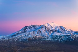 scenic view of mt st Helens with snow covered  in winter when sunset ,Mount St. Helens National Volcanic Monument,Washington,usa.