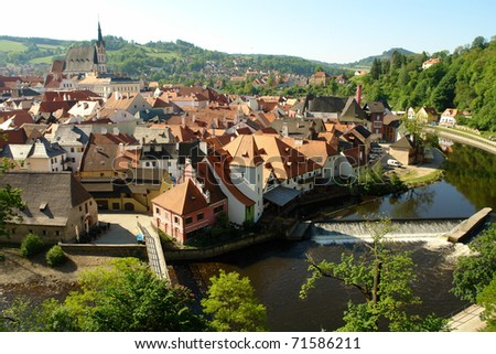 Scenic view of old town and castle with river in foreground, South Bohemia, Czech Republic.