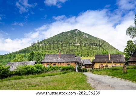 Scenic view of old traditional village Vlkolinec in Slovakia, Europe #282156239
