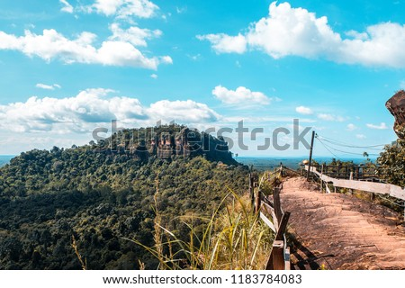 Scenic view of Phutok mountain best travel of Bueng kan province against blue clouds sky background,Thailand travel,Beautiful day on mountain,going hight concept. #1183784083
