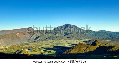 Scenic view of Plaine des Cafres plateau with Piton des Neiges massif in background, Reunion Island - stock photo