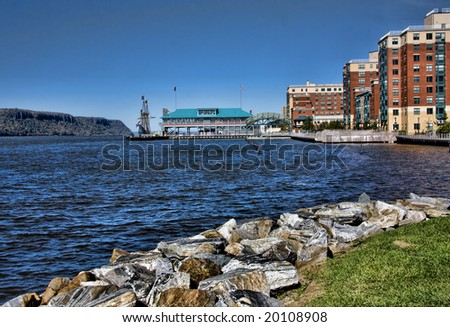 Scenic view of redevelopment of the Yonkers, NY waterfront.