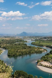 Scenic view of river, bridge and Shkodra (Shkodër) cityscape, from Rozafa castle. Albania