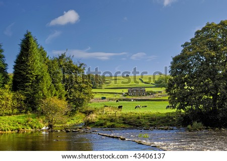Scenic view of river Wharfe with Yorkshire Dales National Park in background, North Yorkshire, England.