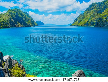 Scenic view of sea bay and mountain islands Palawan Philippines