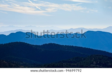 Scenic view of Sierra Nevada Mountain Range landscape at sunrise, Eastern California.